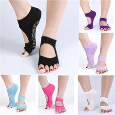 0b97bb2a74290 1 Pair Cotton Yoga Socks Half Toe Ankle Grip Durable Five Finger No-Slip at