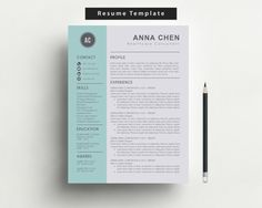 Resume Template And Cover Letter Template For Word, DIY Printable 3 Pack,  Professional And Modern Resume, CV, Teacher Resume, CV Template