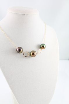 Kasumi like pearl necklace, peacock, ripple pearl, handcrafted ring, handcrafted clasp, 14k gold filled: simply stunning by Simply Adorned