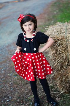 Minnie Mickey Mouse Inspired Dress, Minnie Costume, Miss Mouse Dress, Twirly Dress, Infant Toddler Dress