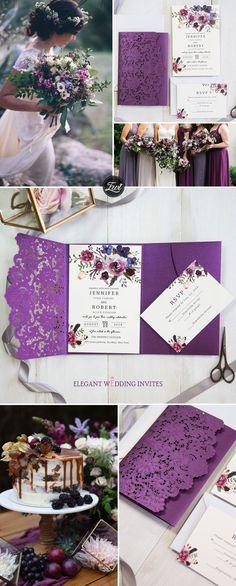 4a3e39fff7 vivid shades of purple watercolor floral laser cut pocket wedding  invitations EWWS202