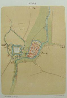 Buren van Jacob van Deventer reproductie rond 1900 van originele kaart uit 1557