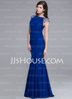 Mermaid Scoop Neck Floor-Length Chiffon Charmeuse Evening Dress With Beading (017025435) - JJsHouse
