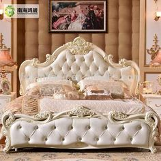Modern Luxury Royal French Baroque Rococo Style King Queen Size Cream White Buttoned Diamond Leather Headboard Upholstery Bed Source by Bedroom Furniture Sets, Bedroom Sets, Furniture Design, Living Room Upholstery, Furniture Upholstery, Paint Upholstery, Upholstery Repair, Upholstery Cleaning, Upholstery Fabrics
