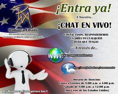 Contáctanos por nuestro chat en vivo y resuelve las dudas que tengas.  #RomarcaEnvios #EnvioDeDinero