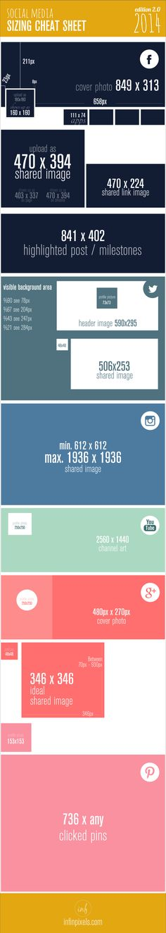 Social Media Sizing Cheat Sheet by InfinPixels -Web Design London