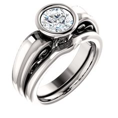 14k white gold round bezel diamond engagement ring and matching wedding band set   Order this from Bauble Patch Jewelers today!  http://baublepatch.jewelershowcase.com/browse/wedding-and-engagement/  or call (616)785-1100