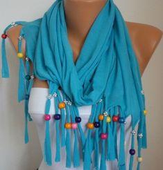 Blue Bead Scarf -  shawl