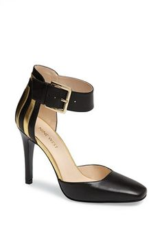 """$98.95 on @Keaton Row website, arranged with full of fashion... click to see it in action. A chunky ankle strap adds a sophisticated air to a slender pump with just the perfect amount of heel.  4"""" heel (size 8.5). Adjustable ankle strap with buckle closure. Leather upper/synthetic lining/rubber sole. By Nine West"""