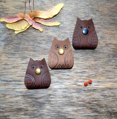 Owl cord organizer Cord holder  earbud holder by jewelryleather