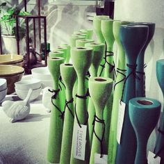 Green is the color of spring! FREEMOVER.se spring green and petrol green Rolf™ wooden candlesticks, mid-century modern. Three sizes. Celebrating 10. Design: Maria Lovisa Dahlberg