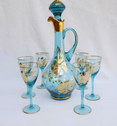 Your place to buy and sell all things handmade Wine Decanter Set, Crystal Decanter, Wine Goblets, Art Deco Glass, Shabby, Vintage Dishes, Gold Flowers, Antique Glass, Crystals
