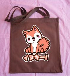 A recycled material, screen printed, bag featuring my character Inukii. The Katakana reads 'Inukii' (his name) on the front. Tasty Peach Studios, Recycled Materials, Art Studios, Screen Printing, Purses And Bags, Reusable Tote Bags, Kawaii, Nice Things, Prints