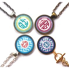 Behind The Glass Monogram Pendant Necklaces