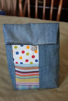 Recycled denim lunch bag