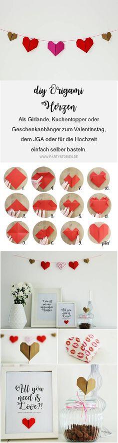 DIY Origami Herzen zum Valentinstag oder die Hochzeit selber basteln, einfache Origami Herzen mit dieser Anleitung falten, inklusive Bastelvorlage für Origami Herzen von www.partystories.de