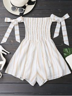 kenancy Striped Women Rompers Jumpsuits 2017 New Summer Playsuits Sexy Off Shoulder Self Tie Strapless Overalls Beachwear Girls Fashion Clothes, Teen Fashion Outfits, Girl Fashion, Girl Outfits, Trendy Fashion, Cute Rompers, Rompers Women, Jumpsuits For Women, Jumpsuits 2017