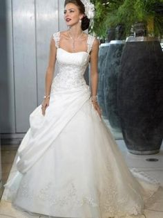A-line Square Embroidery Sleeveless Chapel Train Satin Wedding Dresses For Brides