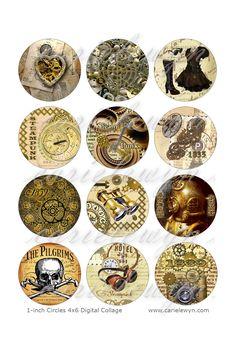 Steampunk Bottlecap Images / Vintage Heart, Gears, Clock, Skull / Printable Bottle Cap Images 1-Inch Circles. $1.49, via Etsy.