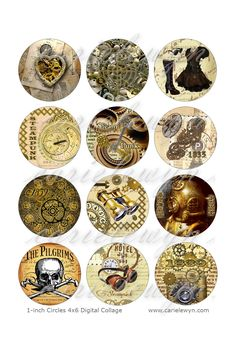 Steampunk Bottlecap Images / Vintage Heart, Gears, Clock, Skull / Printable Bottle Cap Images 1-Inch Circles. $1.49, via Etsy.