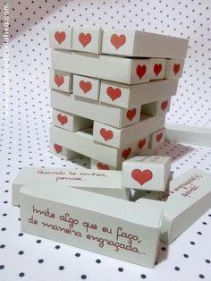 DIY - NAMORADA CRIATIVA - JOGUINHO TORRE DIA DAS CRIANÇAS -07 Jenga, Cute Gifts For Friends, Junior Year, Disney Junior, Paper, Wedding, Boyfriend, Tags, Ideas