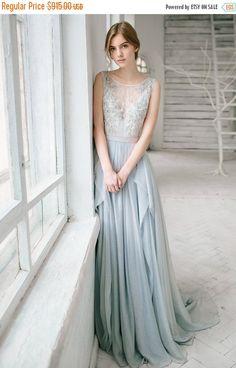 Cyber Monday Sale 20% Silver grey wedding dress by CarouselFashion