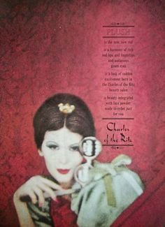 1959 Vintage Charles of the Ritz Plush Red Lipstick Nail Polish Cosmetic Ad
