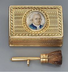 A LOUIS XVI DOUBLE-OPENING TWO-COLOUR GOLD BOÎTE-À-MOUCHES SET WITH A MINIATURE Paris, 1775/1776, with the charge and discharge marks of Jean-Baptiste Fouache 1774-1780, the miniature English, late 18th century Rectangular box, the hinged cover, sides and hinged base with panels of peaked scalloped engine-turning, the sablé borders chased with trailing stylized acanthus,
