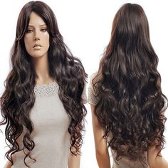 Long Side Parting Fluffy Wavy Synthetic Wig #women, #men, #hats, #watches, #belts, #fashion