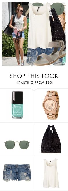 """""""shopping in beverly hills."""" by valerieking ❤ liked on Polyvore featuring Chanel, Michael Kors, Ray-Ban, Maison Margiela, INC International Concepts, gladiator sandals, studded handbags, denim shorts, flatform shoes and denim cutoffs"""