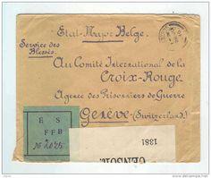 Lettre Etat-Major Belge FOLKESTONE 1916 - Etiquette Verte ES FFB - vers Croix Rouge de GENEVE -- DT046 - Delcampe.net