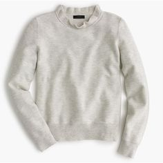 J.Crew Ruffle Neck Pullover Sweater (330 PEN) ❤ liked on Polyvore featuring tops, sweaters, double layer top, layering long sleeve tops, textured sweater, chevron tops and long sleeve pullover
