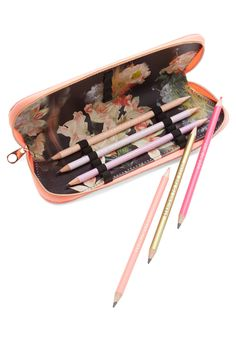 Write on Cue Pencil Case Set. Itll come as no surprise when a girly gal like you pulls this pink pencil case from Wild  Wolf - a British brand that supports the organization WaterAid, which helps provide clean drinking water to people around the world - from her desk drawer! #multi #modcloth