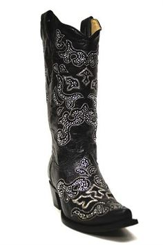 Corral Womens Black Inlay with Crystals Cowgirl Boots
