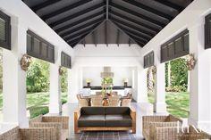 Contemporary White Poolside Cabana
