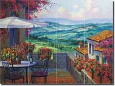 "Fine Art Ceramic Tuscan Landscape Tile Mural and Backsplash by Artwork On Tile x - ""Tuscany Forever"" by Mikki Senkarik - Perfect for kitchens, backsplashes, showers and other interior spaces. Italy Art, Puzzle Art, Tile Murals, Vintage Images, Beautiful Landscapes, Landscape Paintings, Decoupage, Fine Art, Artwork"
