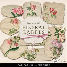 New Freebies Kit of Floral Labels:Far Far Hill - Free database of digital illustrations and papers Free Digital Scrapbooking, Digital Scrapbook Paper, Digital Stamps, Digital Papers, Free Printable Art, Free Printables, Printable Labels, Make Your Own Labels, Vintage Scrapbook