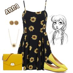 Anna (frozen fever) by violetvd on Polyvore featuring Joe's Jeans, Nine West, Ciner, Jamie Wolf and Disney