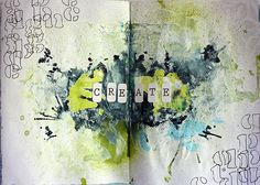 Art Journaling- Watercolor splashes in the center, with a pattern of sorts in two of the corners. An interesting contrast.