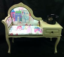 SHABBY CHIC TELEPHONE TABLE Seat Hand Painted Annie Sloane