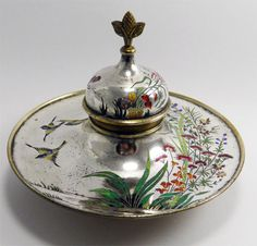 Fine Antique 19th Century Russian Silvered Bronze Enamel Inkwell Desk Stand