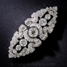 Art Deco Platinum and Diamond Double-Clip  Brooch