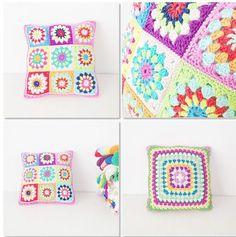 Granny Square Pillow Crochet Pattern  di annemariesbreiblog