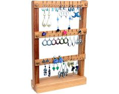 Earring Holder, Jewelry Holder Stand, Jewelry Organizer, Oak, Wood. Holds 30 pairs of Earrings.