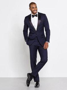 2017 Navy Blue Custom Made Slim Fit Tuxedos (Jacket+Pants+Bow)