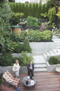 Your garden does not require so many steps but it's an example of how creating a series of steps creates a journey and eases your out and up into the upper area