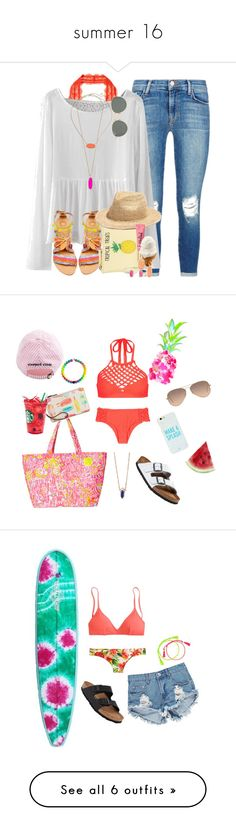 """""""summer 16"""" by alexatesh ❤ liked on Polyvore featuring Intimately Free People, J Brand, Elina Linardaki, New Look, Madewell, Too Faced Cosmetics, Kendra Scott, Ray-Ban, Mikoh and Lilly Pulitzer"""