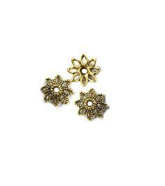 Blue Moon Findings Bead Cap Metal Filigree Flower Antique Gold