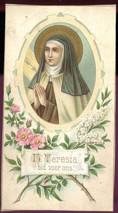 Teresa of Avila Antique Vintage Dutch Holy Prayer Card Sainte Therese, St Therese Of Lisieux, Saint Teresa Of Avila, Virgin Mary Art, Catholic Beliefs, Catholic Pictures, Vintage Holy Cards, Religious Images, Catholic Gifts