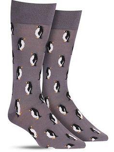 Fun Animal Penguin Socks for Men, in grey